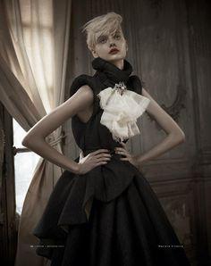 vogue, models, galleries, fashion, russia, red, beauti, nastya kusakina, black dress