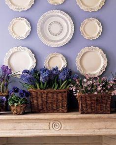 Wicker Easter baskets full of spring flowers