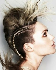 funki hairstyl, punk hairstyl, hair style, colour hair, side braid