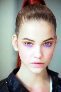 Cool edgy eye makeup! beauty makeup, makeup eyes, orang, eye makeup, color, shadow, bright eyes, beauti, barbara palvin
