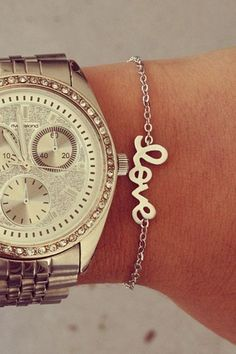 Silver Love Bracelet and Boyfriend watch.  YES!