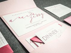 Pink Wedding Invitations Modern Wedding by JulieHananDesign, $5.95