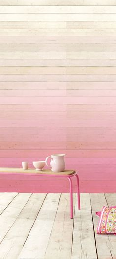 Pink Ombre Wood Panelled Wall