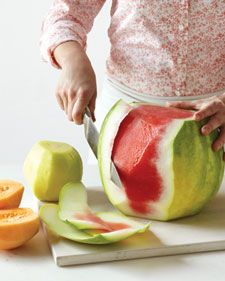 Easy way to peel (skin?) a watermelon or cantelope.  I have no idea why I didn't think of this--so fast!