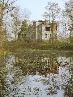Side view of the abandoned mansion in Mierzewo, Polland.