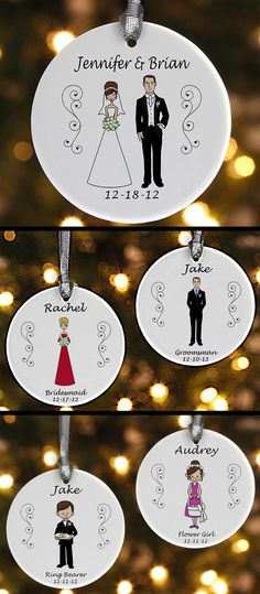 CUTEST. IDEA. EVER. You can create a personalized ornament for each of the people in your bridal party - you can even choose the color of the dresses/vests AND you get to pick from different hair and skin colors so they match perfectly! They're on sale now for only $8.90 at PersonalizationMall! This is a cute way to say thank you to your family and friends or a great wedding gift idea for a bride & groom! It would make a great Christmas gift for newlyweds, too! #Wedding