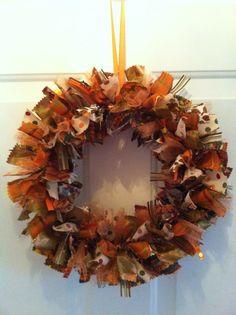 Fall Rag Wreath Autumn Rag Wreath Fall by RagWreathsbyMissVal, $45.00