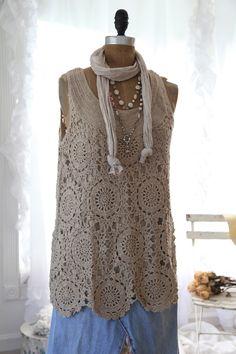 Romantic Living ganchillo Suéter tipo túnica polvorienta Cafe ... Lg