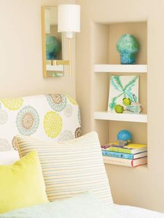 bedroom storage, small bedrooms, wall storage, color, stud, bedside tables, small spaces, shelv, small space storage