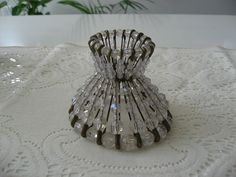 Mini Glass Beads Lamp Shade - made out of safety pins and beads.