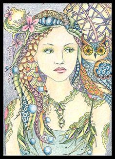 Photo Gallery: Zentangles » ZIA - Zentangle Inspired Art » Zen Fairy & Owlfairy