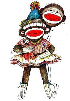 Jeni's Sock Monkey image. #art