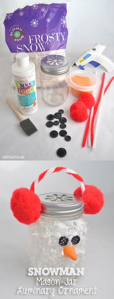 Snowman Mason Jar Luminary Holiday Ornament Craft Idea