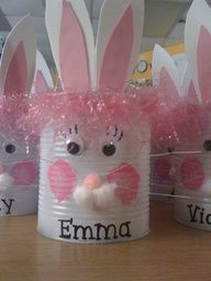 No tutorial, but easy enough...#10 can spray painted white, googly eyes, pom-poms, felt for ears...
