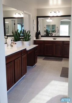 A new tile floor makes this bathroom feel lighter, brighter and bigger! Click through to see the full before and after. || @betterafter