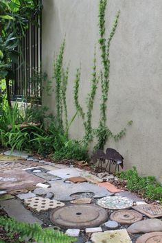 recycled materials repurposed concrete, stone, ceramic, etc. to make garden path