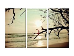 Wind on the Water: Large Canvas Art, 3 Panel, Triptych, Vintage, Tree, Sunset, Surf, Waves, Ocean, Abstract, Soft Colors