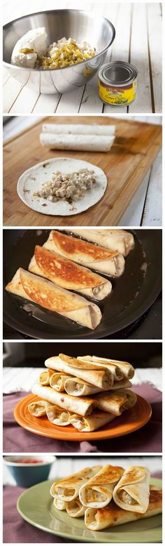 cookglee recipe pictures: Chicken, Peppers and Cream Cheese Taquitos