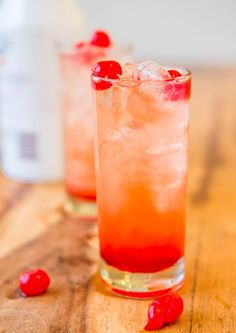 Malibu Sunset {Pineapple-Orange Juice, Malibu Coconut Rum, Grenadine,  Maraschino Cherries}