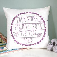 personalised baby's birth cushion by modo creative | notonthehighstreet.com