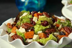 Roasted Sweet Potato and Cranberry Salad w/ Feta, Sea-Salted-Roasted Pecans & Honey-Cumin Vinaigrette - thecafesucrefarine.com