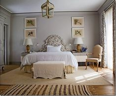 grey bedrooms, bedroom idea, french bedrooms, architectural digest, botanical prints, bedroom colors, upholstered headboards, bedroom interiors, french grey