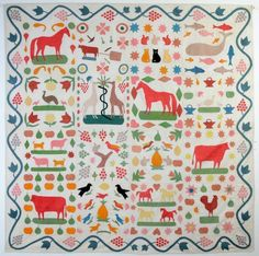 animals, folk art, anim quilt, antique quilts, circa 1860