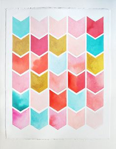 16 x 20 Original chevron watercolor painting -  large - geometric pattern - nursery artwork -  pink, yellow, mint, turquoise, coral, gold
