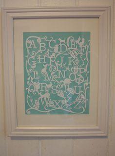 wow! Hand cut Alphabet paper cut Nursery Art