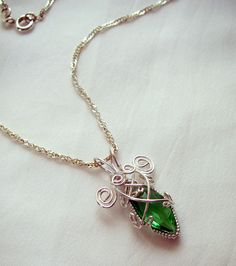 Emerald Glass Wire Wrapped Pendant - Handmade Wire Wrapped Jewelry - Crystal Emerald Necklace.