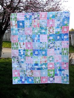 fat quarterly quilt made with vintage sheets
