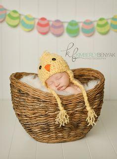 Newborn Baby Fuzzy Yellow Chick Bird Hat Crochet Photo Prop