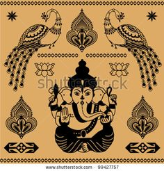 East decorative ornament of the deity Ganesha and birds on a beige background - stock vector