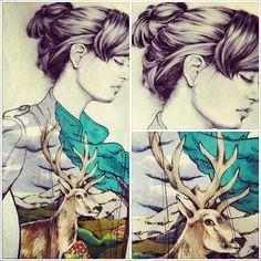 deer inside/pen and pantone on paper