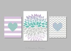 """Heart Flower Bursts and Chevrons Set of (3) 8"""" x 10""""'s and 11"""" x 14""""// Lavender, Teal, Grey // Girls Bedroom Art Modern Home Decor Wall Art on Etsy, $42.50"""