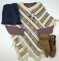 Poncho, Purple top,