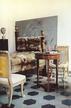 Cy Twombly's apartment in a Roman palazzo, 1966. Photo by Horst.