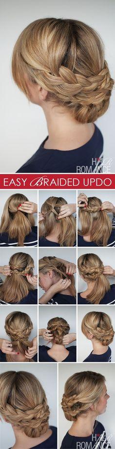 braided bun up do hair, hair tutorials, easi braid, bridesmaid hair, hair romance, braid updo, braid hairstyles, braided hairstyles, hair looks