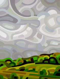 Abstract Landscape Painting - Mandy Budan: Storm acrylic on wood