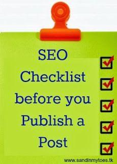 SEO checklist before publishing a blog post via @Tara Harmon Hannon @ Sand In My Toes! #SEO #bloggingtips #checklist