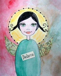 Angel Art Print Folk Art Whimsical Mixed Media