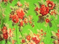 Florence Green Base With Floral Print by Sitarafabricandtrims, $8.99