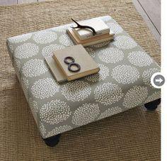 pallet, foam, legs from Lowes, material = DIY ottoman! Best pallet project Ive seen yet!