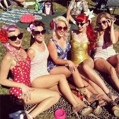 Pin-up  bachelorette pool party.  LOVE