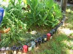wine bottle flowerbed edging