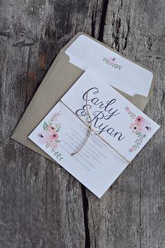 Rustic Floral Wedding Invitations and envelopes