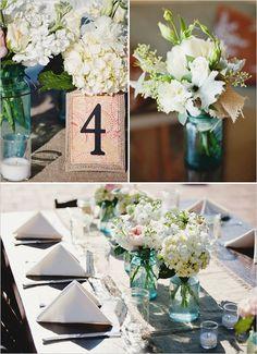 White flowers & blue mason jars