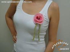▶ Regata com Broche de Flor - Customização com Croche - Aprendendo Crochê - YouTube