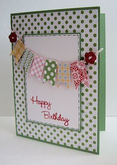 Cute banner idea polka dots, birthday banners, happy birthdays, paper, pendant, stampin up birthday card, 16th birthday, happy birthday cards, scrapbook pages