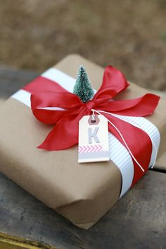 Personalizing your gift wrap with a tiny tree.